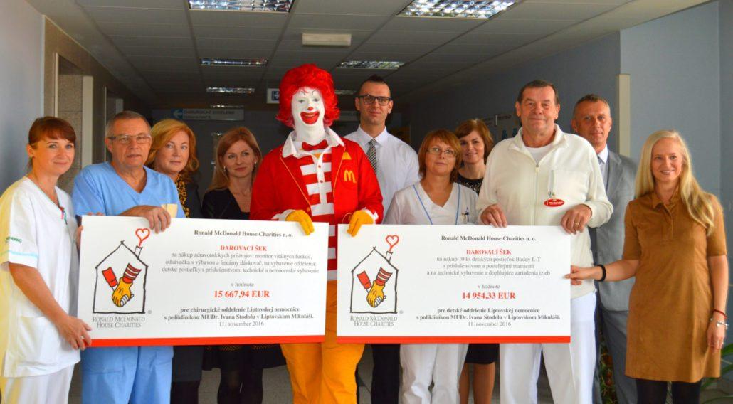 nadviazanie spolupráce s nadáciou Ronald Mc Donald´s Charities