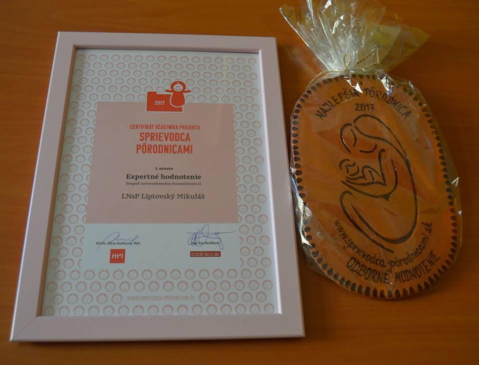 naša pôrodnica získala 1. miesto v odbornom hodnotení pôrodníc na Slovensku vo svojej kategórii za rok 2016
