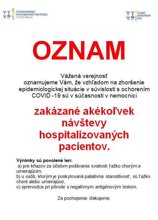 Oznam o zákaze návštev v nemocnici